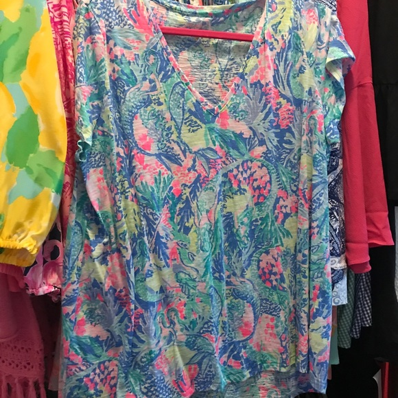 81ab8742f2649d Lilly Pulitzer Tops - Lilly Pulitzer Mermaids Cove Etta Top